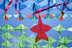 一只风筝在天空夏天 免版税库存照片