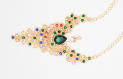 以一只鸟的形式珍贵的项链与美丽的绿色和五颜六色的石头时尚样式的概念 库存图片