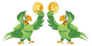 一只鹦鹉举行美元标志的和拿着欧元的另一只鹦鹉 库存图片