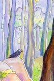 一只鹦鹉的原始的绘画在幻想森林里 库存例证