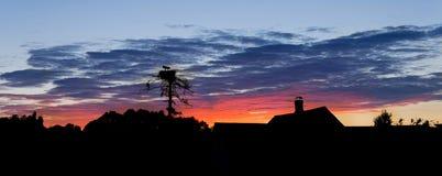 一只鹳的剪影在房子巢和屋顶的反对是的 图库摄影