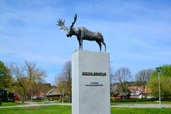 一只麋的雕塑在奈达,立陶宛 图库摄影