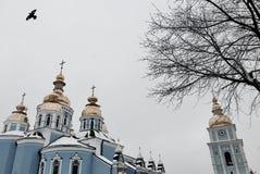 一只黑鸟飞行在圣迈克尔` s金黄半球形的修道院在Kyiv,乌克兰 免版税库存图片