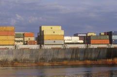 一只货船的特写镜头在波士顿港口,马萨诸塞 库存图片