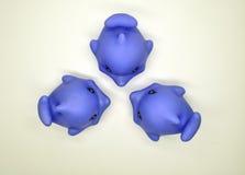 一只紫色海豚和三小紫色海豚孩子的能一起使用在浴缸在白色背景全部 库存照片