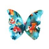 一只蝴蝶的剪影与水彩五颜六色的摘要后面的 库存图片