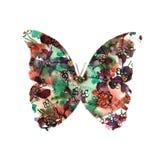 一只蝴蝶的剪影与水彩五颜六色的摘要后面的 免版税库存图片