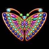 以一只蝴蝶的形式珍贵的别针与宝石 库存图片