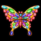 以一只蝴蝶的形式金别针与宝石 免版税库存照片
