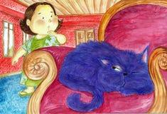 一只sleaping的猫 免版税库存照片