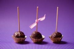一叮咬嘎吱咬嚼和乳脂状的巧克力杯形蛋糕 库存图片