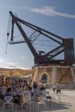 一台历史的起重机在Arsenale船坞 意大利威尼斯 免版税库存图片