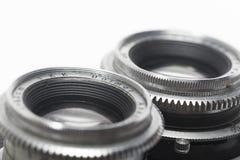 一台古色古香的照相机的透镜的宏观照片 库存照片