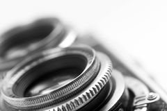 一台古色古香的照相机的透镜的宏观照片 免版税库存照片