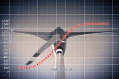 一台垂直的轴风轮机的功率曲线-概念图象 图库摄影