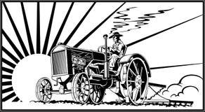 一台拖拉机的农夫在领域传染媒介 库存图片