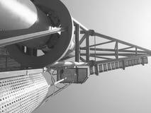 一台码头边工业起重机的单色图象 免版税库存图片