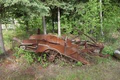 一台老土豆收割机 免版税库存照片