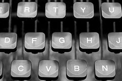 一台老打字机技工的键盘键 库存图片