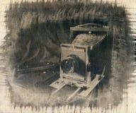一台老模式照相机以大型格式化 库存照片