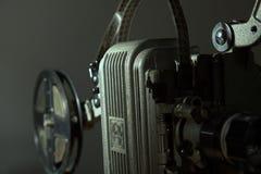 一台老电影放映机的特写镜头 库存照片