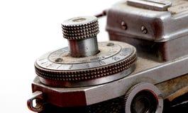 一台老葡萄酒影片照相机的细节,宏指令 图库摄影
