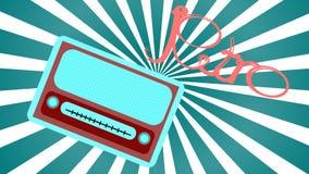一台蓝色老减速火箭的古色古香的葡萄酒长方形第一台行家收音机,有圆的音量控制的音乐无线电接收机与inscri 皇族释放例证