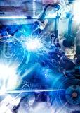 一台蓝色高科技自动机器人操作器 免版税库存照片