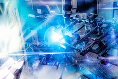 一台蓝色高科技自动机器人操作器 免版税库存图片