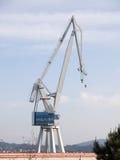 一台起重机在造船厂 免版税图库摄影