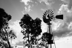 一台运转的葡萄酒国家风车的剪影在日落光或微明的 库存照片