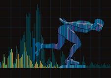 一台滑冰的和数字式调平器的概念 图库摄影
