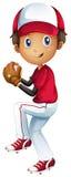 一台年轻棒球捕手 免版税库存照片
