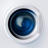 一台洗衣机的正面图在洗涤期间的 免版税库存照片