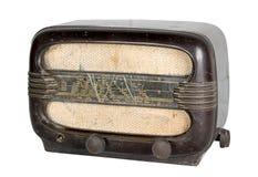 一台年迈的模式收音机的被删去的静物画 免版税库存照片