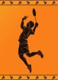 一名专业羽毛球球员的剪影 库存照片