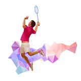 一名专业羽毛球球员的剪影 免版税库存图片