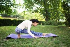 一名亭亭玉立的妇女在做美丽的asana的公园行使 运动的女子实践的瑜伽在夏天公园 瑜伽,健身,体育 库存图片