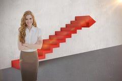 一名典雅的女实业家的画象的综合图象在办公室3d 图库摄影