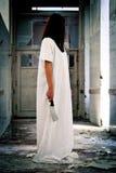 一名可怕妇女的恐怖场面 库存图片