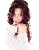 一名可爱的美丽的妇女的纵向 免版税库存照片