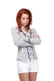 一名哀伤的红头发人妇女的纵向 免版税库存图片