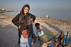 一名回教妇女的画象hijab的,波斯湾,伊朗 库存图片