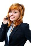一名女孩电信操作员的画象一白色backgr的 免版税库存照片