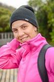 一名女性登山家的画象 免版税库存图片