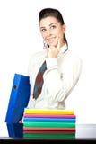 一名好妇女的纵向有办公室文件夹的 库存图片