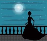 一名妇女的剪影夜 库存图片