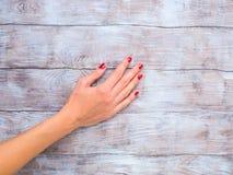 一名妇女的手有红色擦亮剂的木表面上 免版税库存照片
