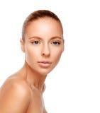 一名妇女的美丽的面孔有干净的皮肤的 库存照片