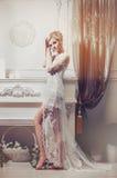 一名妇女的美丽的画象有金发的有晚上构成的 库存图片